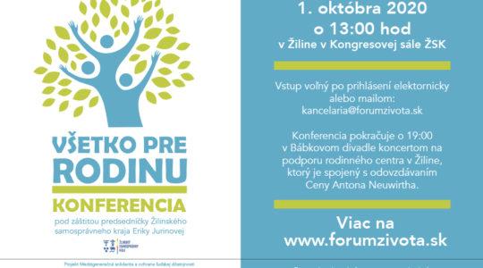 Konferencia VŠETKO PRE RODINU - Pozvánka